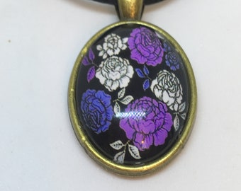 Antique Gold Colour Glass Purple and White Flowers Oval Pendant Necklace- approx 28mm Oval-Gifts For Her-Gifts for women