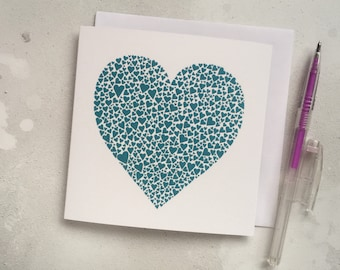 Teal hearts love card – turquoise heart card – papercut art – wedding card –  wedding card – engagement card – thank you card – Valentine