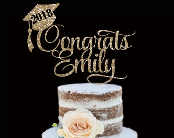 ANY NAME Graduation Cake Topper!  Any Color - College, High School, Middle School, Elementary, Kindergarten, Pre-School - Gold Glitter, 2018