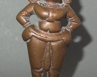 Antique Bronze Hindu Goddess Statue from Nepal, Female Deity, Nepali Tribal Goddess Figure, FREE SHIPPING