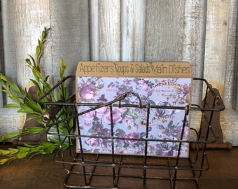 Recipe Box, Metal Basket, Metal Recipe Box, Rustic, Lavender, Purple, Gold Foil
