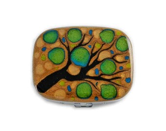 Oval Metal Pill Box with Mirror Hand Painted Enamel Gold and Lime Green Blossom Inspired Pill Case Custom Colors and Personalized Options