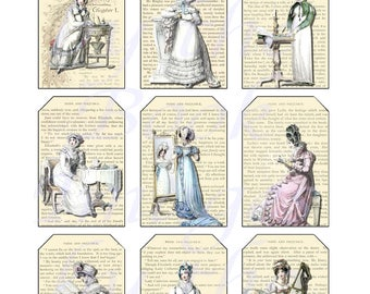 Jane Austen's World--Regency Fashions Printables, Part 2, GIFT TAGS (2 x 3 inches)