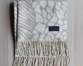 Pierre Balmain wool scarf, vintage, cream