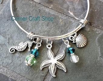 Summer Seahorse Seashell Starfish Charm Bangle Bracelet  Beach Theme Shells Glass Beads