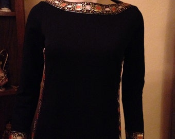 Fun Black Polyester Knit Embellished Maxi Dress