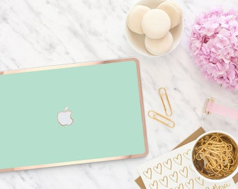 Macbook Pro 13 Case Macbook Air Case Laptop Case Macbook Case . New York Green Mint with Rose Gold Chrome . Hard Case