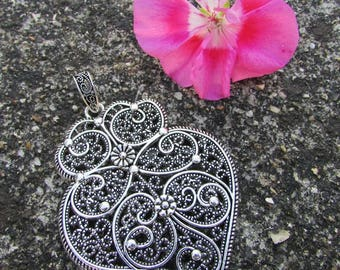 Pendant drop pattern Tibetan silver filigree 85 x 55 mm