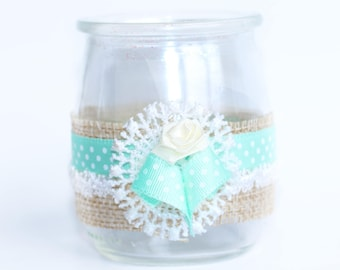 Jar glass candle holder decoration lace and Ribbon nanny gift