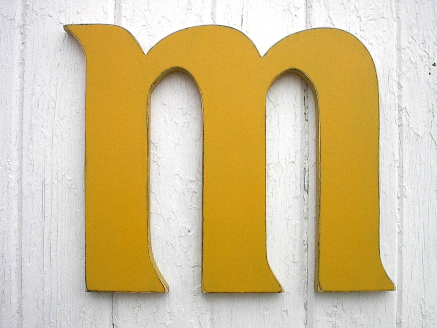 Personalized Wooden Wall Letter m Distressed Kings