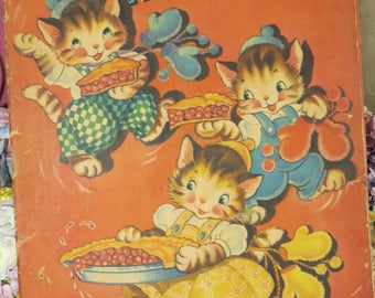 Vintage Childrens Book-The Three Little Kittens-Merrill-1943-Linen