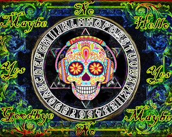 Trippy Sugar Skull Pendulum Board -  Neon Glow - Digital Download emailed to you