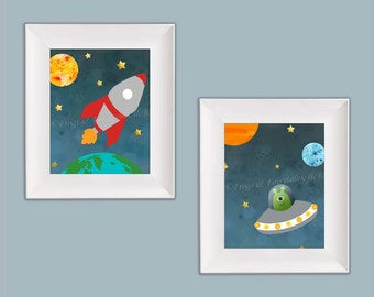 Outer Space Rocketship Wall Art Paper Prints Set