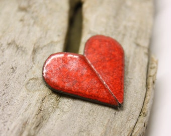 Red Heart Earrings/ Silver earrings/ Stud earrings/ Heart jewelry/ Ceramic earrings/ Great valentines day or mothers day gift