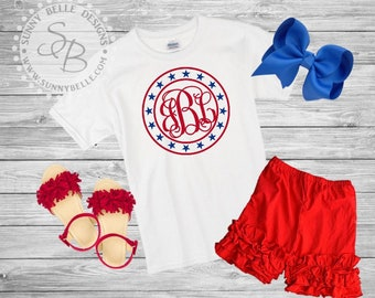 American Monogram Circle shirt for girls // 4th of July girls Shirt // Patriotic Kids Shirt // Red White and Blue // Stars and stripes