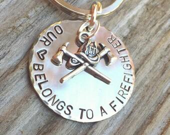Firefighter Keychain, Our Heart Belongs To A Firefighter, Personalized Firefighter Gift, Firefighter Gift, natashaaloha