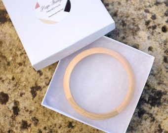 Cream natural wooden bangle wood hand-painted bracelet