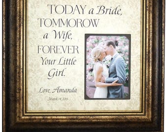 Father of the Bride Gift, Personalized Wedding Gift for Dad, Personalized Wedding Gift for Parents, Burlap Wedding, 16x16 Overall 5x7 Photo