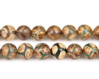 Tibetan Dzi Beads, Natural Gemstne Beads, Tibetan Agate Beads, Round Loose Stone Beads For Jewelry Making 8mm 10mm 12mm 15''