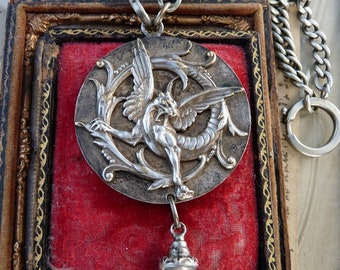 Antique French Wyvern and Marianne Lady Liberty Necklace, A Talisman for the Amazon Warrioress, by RusticGypsyCreations