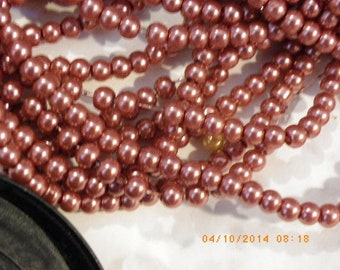 300 Pearly glass beads 4 mm orange rust Pearl