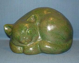 Sleeping Cat Rock, Garden Cat Rock, Faux Rock Cat, Ceramic Cat Rock, Jade Haze
