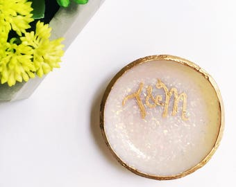 MONOGRAMMED OPAL // Polymer Clay Jewelry Dish, Ring Dish, Trinket Dish, Ring Holder