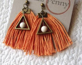 Orange Fringe Earrings- Orange Tassel Earrings
