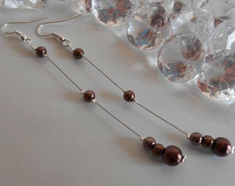 Wedding earrings chocolate brown pearls