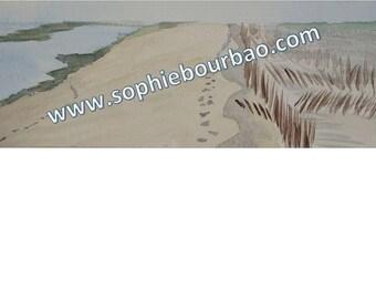Dunes along the Atlantic Ocean - watercolor