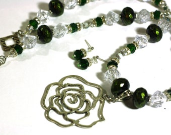 Green Rose Handmade Necklace and Earrings Set: Silver Rose Pendant on green and crystal beaded necklace - Women's Statement Necklace
