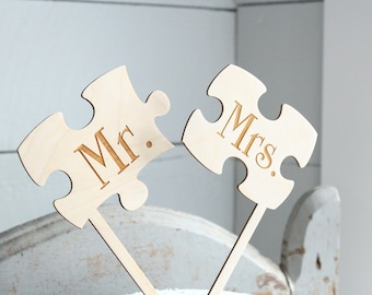 Mr and Mrs Puzzle Piece Cake Topper Puzzle Cake Topper Wedding Cake Topper Rustic Cake Topper #Downintheboondocks