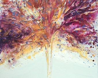 Large Original Tree painting by Caroline Ashwood - Modern acrylic art contemporary abstract on canvas - FREE SHIPPING