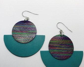 Leather, Earrings, Leather earrings, Gift, Bluish green earrings, Bold earrings, Statement earrings, Drop eattings, Lightweight earrings