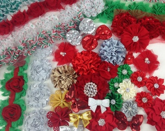 GRAB BAG of Christmas Themed Flowers and Bows