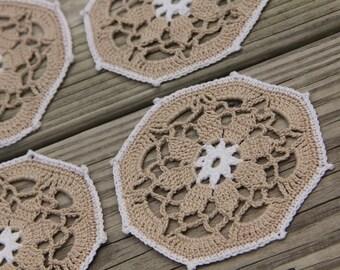 Vintage Style Crochet Coaster Set, Crochet Coaster, Vintage Crochet Coaster Set, Shabby Chic Doily, Lace Crochet, Crochet Vintage Doily