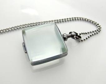 Clear Glass Locket Necklace, Glass Photo Locket, Oxidize Sterling Silver Locket Pendant, Modern Locket, Push Gift Necklace Maternity Jewelry