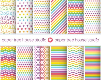 Rainbow Digital Paper. Rainbow Scrapbook Paper. Rainbow Background. Multicolor Digital Paper. Rainbow Party Decorations. 12 PNG Files.