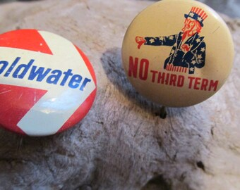 Uncle Sam No Third Term and Goldwater Pin Lot Political Pins
