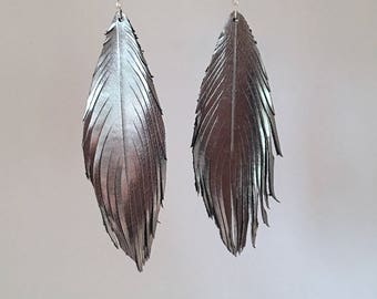 Graphite silver LEATHER feather earrings lightweight dangle earrings leather feather earrings leather feather earrings