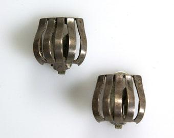 Sterling Parisina Marcel Boucher Earrings Midcentury Modern Minimalist Taxco Clip Earrings