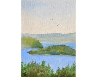 Original watercolor ACEO painting - Lake isles