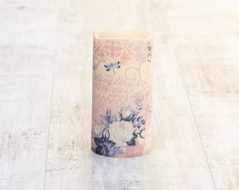 Boho Decorative Pillar Candle With Lilac Print, Decorative Purple Candle, Boho Home Decor, Butterfly Print Gift For Her