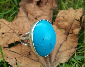 Natural Turquoise Ring - Handmade & Silver