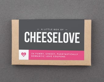 "Funny Anniversary Gift for Girlfriend, Boyfriend, Husband, Wife. Hilarious, Fun, Playful. Dating, Anniversary Love Coupons. ""Cheesy"" (L2CHZ)"