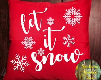 OUTDOOR let it snow snowflake pillow cover