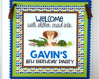 Jungle Party Sign - Safari Party Sign - Reptile Party - Snake Party - Alligator Party - Turtle Party - Door Sign - Welcome Sign