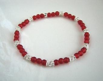 Cranberry Red Stretch Bracelet Silver Filigree and Red Stacking Bracelet