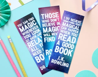 Magic Quotes Bookmark Set. Bookmarks. Magic Bookmarks. Book Lover. Book Worm. Book Geek. Book Nerd. Magic Quotes. Bookmark. Literary Gifts