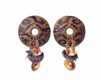 Vintage 80s Lunch At The Ritz Aztec Earrings 1980s Southwestern Indian Design Dangle Gold Tone Jewelry Pierced Post Earrings